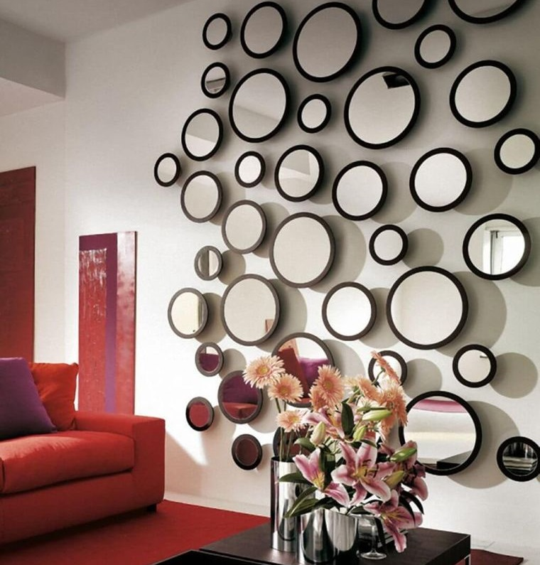 decoration with mirrors wall living room
