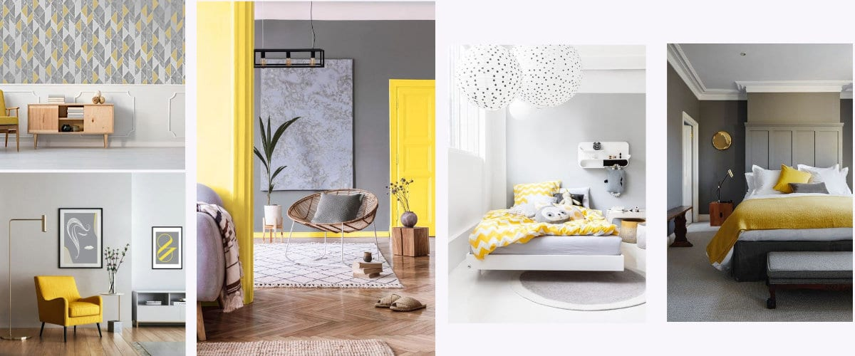 Interiors decorated in gray and yellow